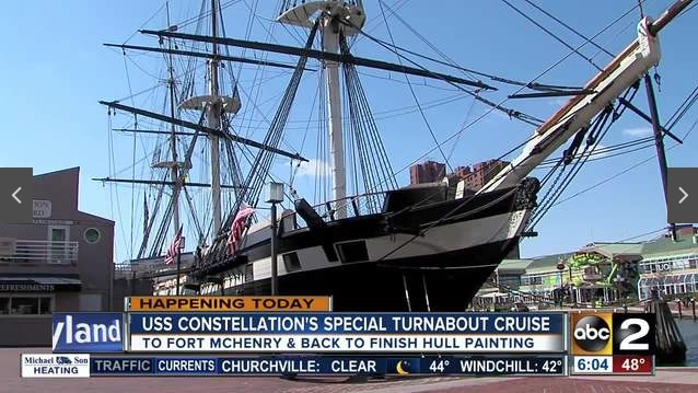 Historical USS Constellation setting sail for restoration